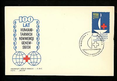 Postal History Poland FDC #1133 Red Cross Medical doctors 1967