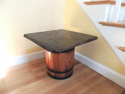 Vintage Small Wooden Barrel Table Hand Made