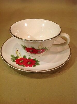 Dixon Art Studios Tea Cup & Saucer W/ Poinsettia Flowers & Lit Candle 24kt Trim