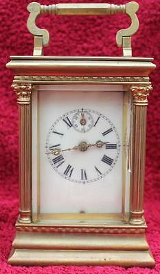 Large Antique French Month Going Triple Corniche Ivorine Dial Carriage Clock