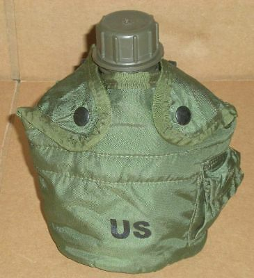 Military Issue 1QT OD Green New Canteen w/ Used Cover