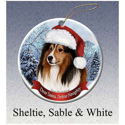 Sheltie Howliday Porcelain China Dog Christmas Ornament