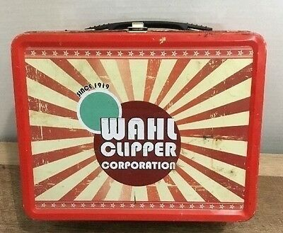 Vintage Wahl Clipper Corporation Tin Lunch Box Style Hair Trimmer Case