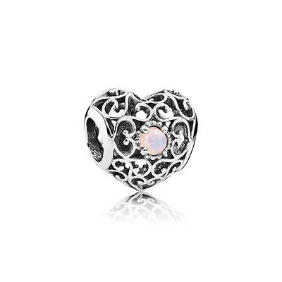 New Authentic Pandora Silver 791784NOP Signature October Heart Charm Bead