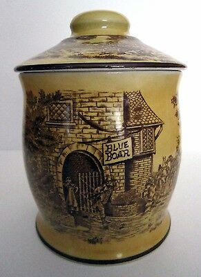 Blue Boar Tobacco Humidor, Ceramic Transferware Jar with Country Tavern Scene