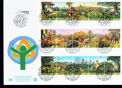 1996  FDC UN NY-G-V Individual Stamps = Clity Summit  Strips of 5