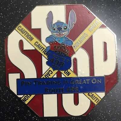 Disney Pin Jumbo Stitch Stop Sign Event Route 498 Caution Le 500
