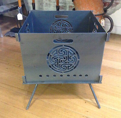 Camping Fire Pit Steel Plate Portable Folding Flat Pack Fire Place Celtic Design