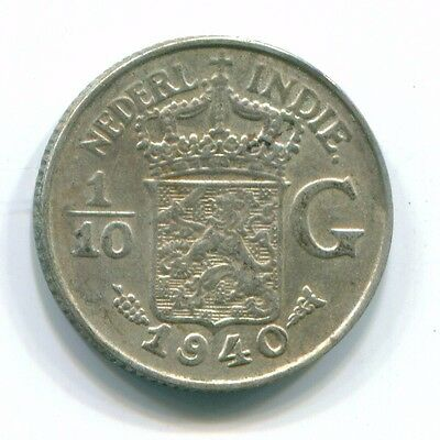 1940 Netherlands East Indies 1/10 Gulden Silver Colonial Coin Nl13541#3