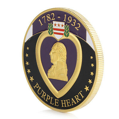 Gold Plated 1782-1932 Purple Heart For Military Merit Commemorative Coin Token