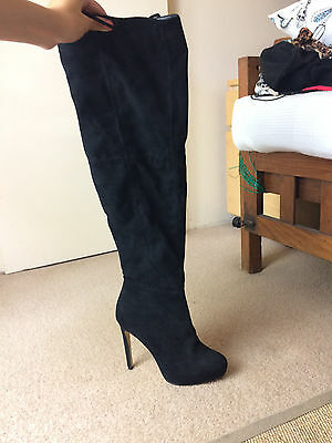 Women's black suede knee high boots size 8