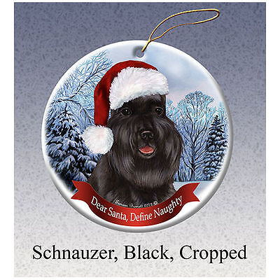 Schnauzer Black Cropped Howliday Porcelain China Dog Christmas Ornament