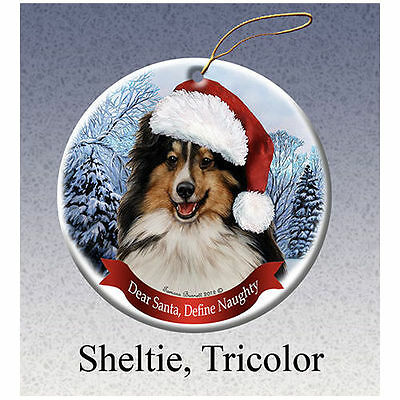Sheltie Tri Color Howliday Porcelain China Dog Christmas Ornament