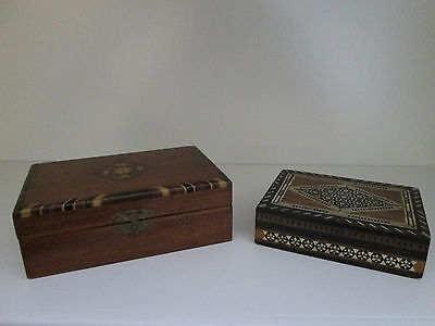 Two Vintage Marquetry Inlaid Wood Boxes - Antique