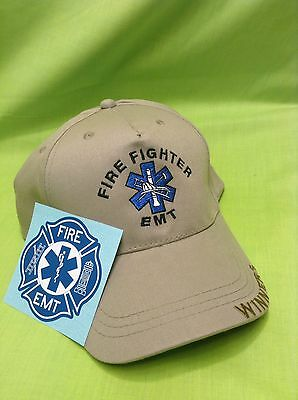 NEW Embroidered Fire Fighter EMT Star Of Life Tan Hat Cap & Sticker