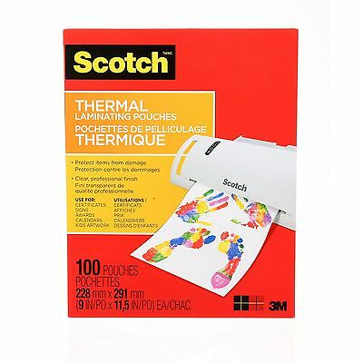 Scotch Thermal Laminating Pouches 8.9 x 11.4-Inches 3 mil thick 100-Pack (TP3...