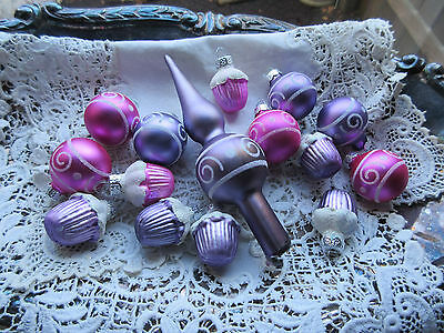 NEW 15 Pc Glass Christmas Ornaments Plus Topper Great for Small/Feather Tree