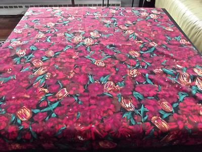 """Vintage Fine Wool 50""""Square Piano Shawl Bright Red Green Floral Large Scarf Wrap"""