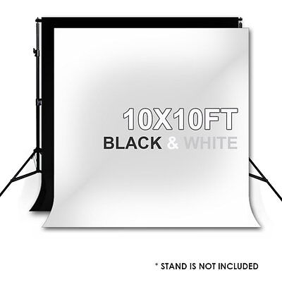 10 X 10FT Photography Photo Studio Black + White Backdrop Background Muslin new