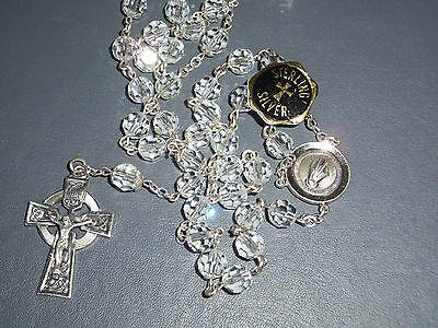 Stunning Creed Crystal And Sterling Silver Rosary Bead