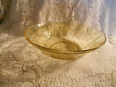 """Federal Glass Co Amber Sharon """"Cabbage Rose"""" 8 1/2""""  Berry Bowl"""