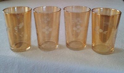 Art Deco Carnival Glass Etched Drinking Tumblers - Set of 4