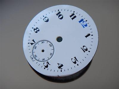 Antique White Porcelain Watch Dial Blue 12 Movement Parts NOS