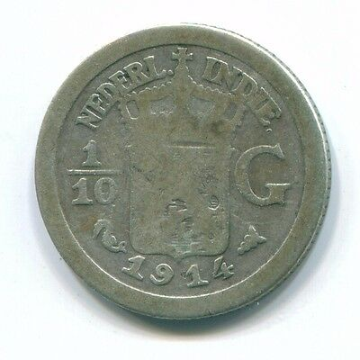 1914 Netherlands East Indies 1/10 Gulden Silver Colonial Coin Nl13301#3