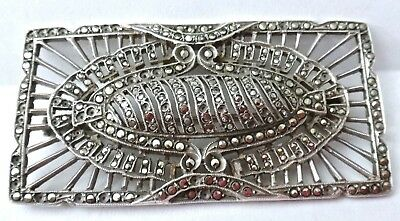 STERLING Marcasites Pin - FRANCE - Intricate Openwork - 15.6gr.  Very FINE DECO!