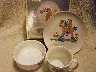 """3 Pc Stoneware Child's Serving Set """"rocky Horse"""" 7 1/4"""" Plate, Bowl, & Cup"""