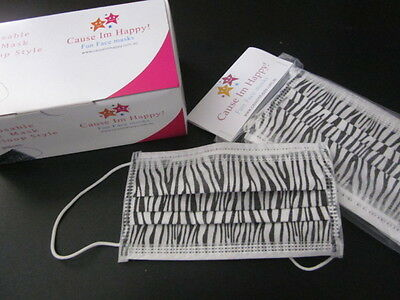 ***3 Ply Disposable ZEBRA Style Medical/Surgical Face Masks-Box of 50p/c***