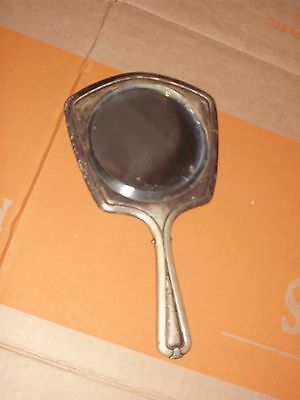 Antique Nickel Silver Floral High Relief Vanity Mirror Wheat pattern needs clea