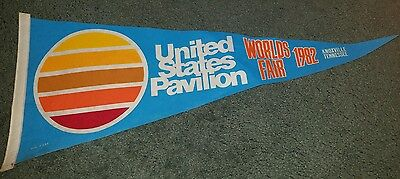 1982 Worlds Fair Rare United States Pavilion Fabric Pennant Knoxville Tennessee