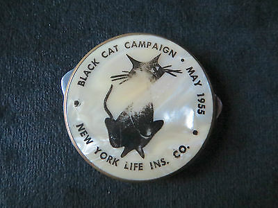 Round Mother of Pearl MOP Black Cat Campaign New York Life Pocket Knife