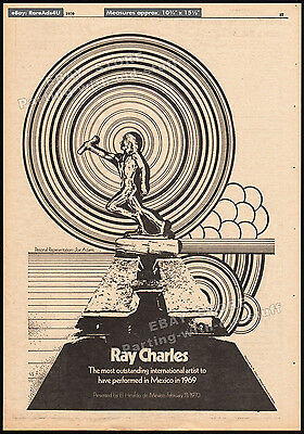 RAY CHARLES__Original 1970 Trade AD / poster__Outstanding Intl. Artist - Mexico