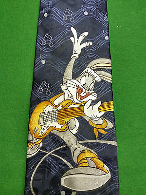 AUTHENTIC Novelty Bugs Bunny Music Guitar Tie 100% Silk Made in ITALY