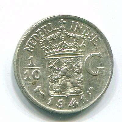 1941 Netherlands East Indies 1/10 Gulden Silver Colonial Coin Nl13550#3