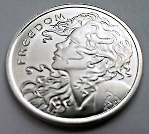 2x 1oz 999 Copper round silver shield Freedom Girl & Slave Queen silver embossed