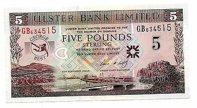 George Best, £5, 25 November 2006, Holder, Ulster bank, Almost  Uncirculated.
