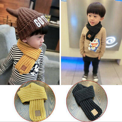 Fashion Baby Knitting Wool Scarf Collar Winter Warm For Kids Boys Solid Color