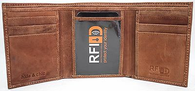 RFID Security Lined Vintage Wallet Full Grain Cow Hide Hunter Leather 12060.