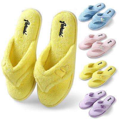 Winter Warm Women Plush Fuzzy Thong Slippers Cozy House Spa Shoes Size 7 8 9 10
