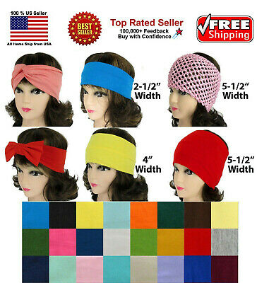 Cotton Soft Stretch Headbands Yoga Softball Sports Hair Band Wrap Sweatband Head