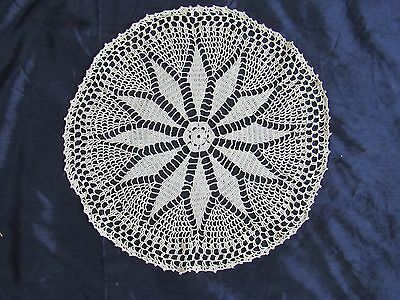 Flowers Crochet Lace Doily Beige Round 10 inches Place Tray Cloths