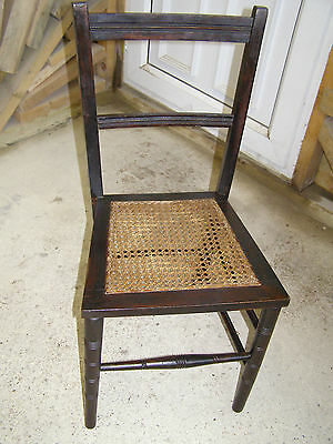 Vintage Edwardian Bedroom Chair Kitchen Dining Chair Split Cane Inlaid Seat Base