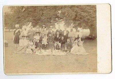Old Cabinet Photograph Colonial Picnic Party In India Antique 1880S (15)