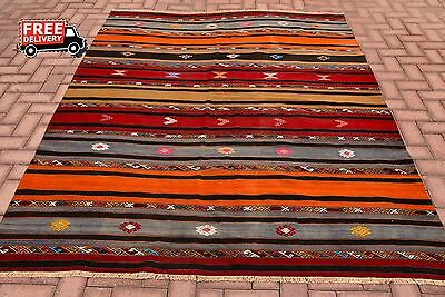Vintage Antique Primitive Old Turkish Kilim Rug Kurdish Rug Tribal Handmade Rug
