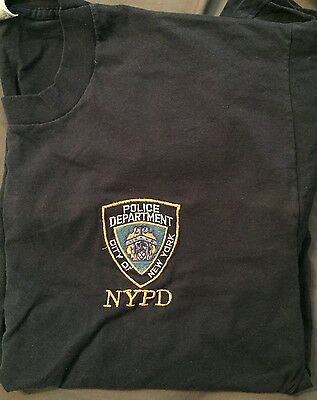 New York Police Dept (NYPD) Embroidered T-shirt, Preowned, Size XL