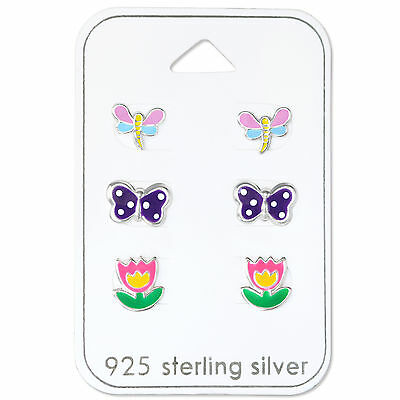 925 Sterling Silver Butterfly Flower Dragonfly Stud Earrings Gift Set Kids Girls