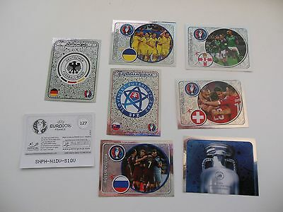 Panini LOT 7 IMAGES BRILLANTES / FOIL STICKER - FOOT EURO 2016 FRANCE -